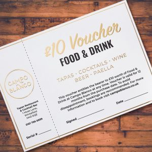 £10 Gift Voucher for Campo Blanco Tapas Restaurant in Whitefield