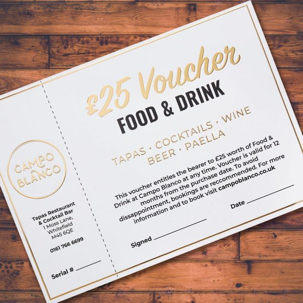 £25 Gift Voucher for Campo Blanco in Whitefield Restaurants